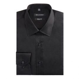 Bellissimo Black Longsleeve Modern Fit Sateen Shirt