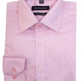 Bellissimo Light Pink Longsleeve Moder Fit Sateen Shirt