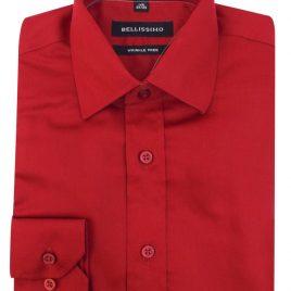 Bellissimo Red Longsleeve Moder Fit Sateen Shirt