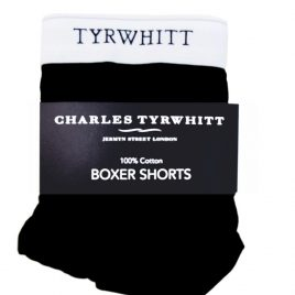 Charles Tyrwhitt Black Pure Cotton Button Fly Boxers