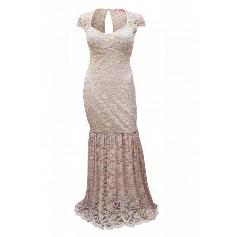 Goddess Blush Lace Long Evening Dress