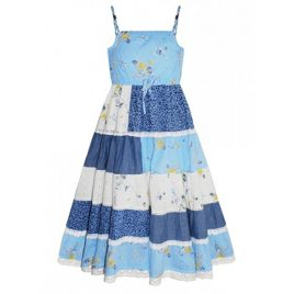 Domino Girl Floral Print Layered Lace Dress