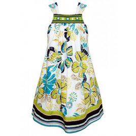 Domino Girl Large Floral Print Embellished Summer Dress
