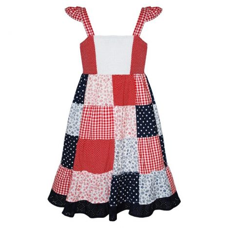 Domino Girl Multi Print Patchwork Crochet Dress