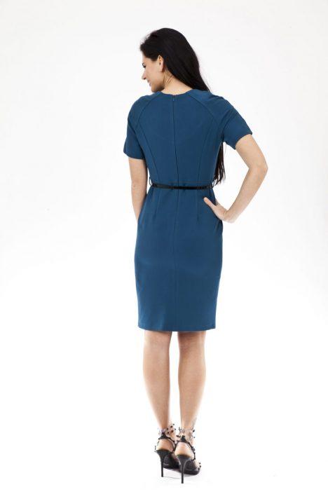 Belted Front Slit Dress in Teal 1