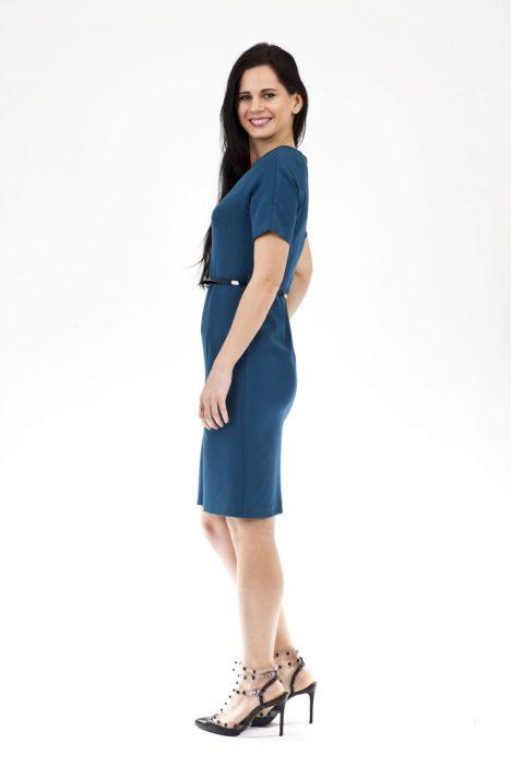 Belted Front Slit Dress in Teal 2