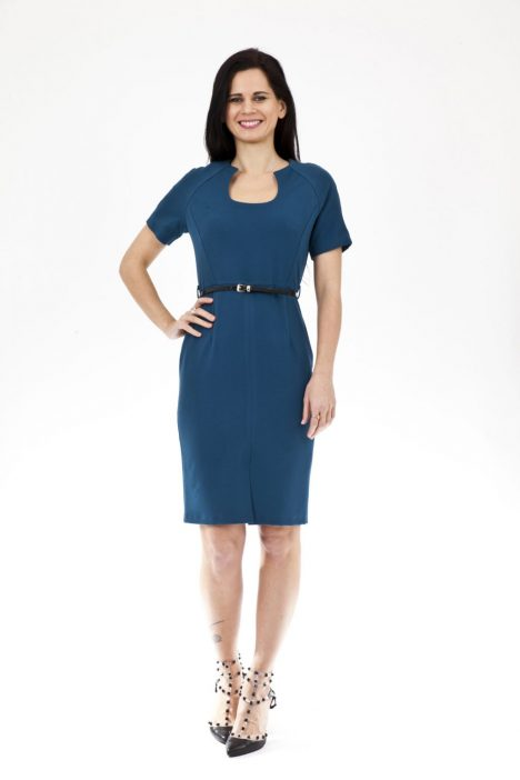 Ex Chainstore Belted Front Slit Dress in Teal
