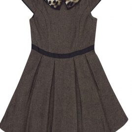 TU Brown Printed Collar Tweed Pleat Dress