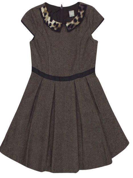 TU Brown Printed Collar Tweed Pleat Dress