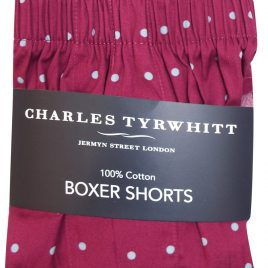 Charles Tyrwhitt BURGUNDY Pure Cotton Woven Spotted Boxers
