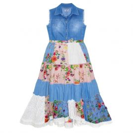 Domino Girl Denim Patchwork Floral Print Lace Dress