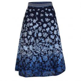M&S Floral Blue A-Line Skirt