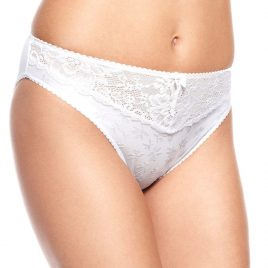 M&S Jacquard Lace Trim High Leg Knickers