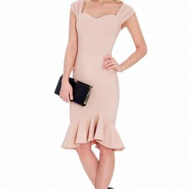 Goddiva Peach Colour Midi Fishtail Dress