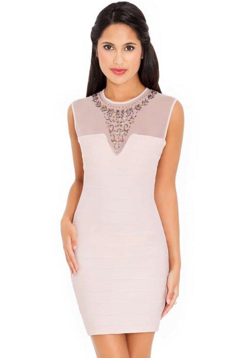 Goddiva Embellished Neck Dress