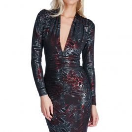 Goddiva Plunge Metallic Midi Dress