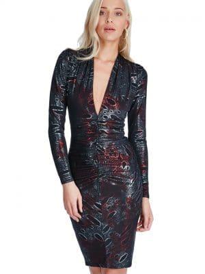 Goddiva Plunge Metallic Midi Dress