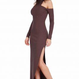 Goddiva High Neck Cold Shoulder Maxi Dress