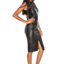 Goddiva Front Split Textured PU Midi Dress