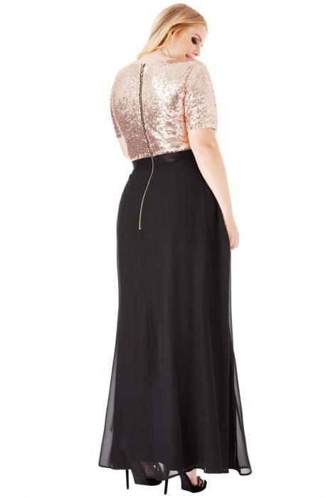Goddiva Plus Size V-Neckline Sequin Chiffon Maxi Dress 2