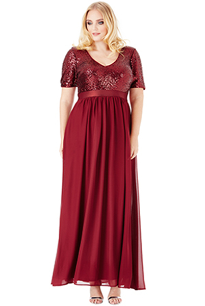 Goddiva Plus Size V-Neckline Sequin Chiffon Maxi Dress 1