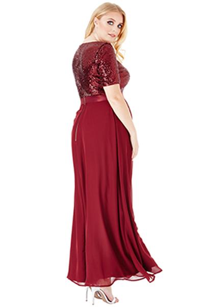 Goddiva Plus Size V-Neckline Sequin Chiffon Maxi Dress 3