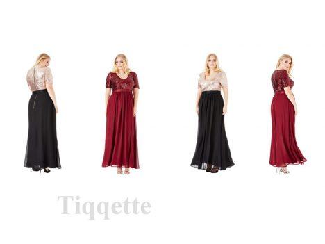 Goddiva Plus Size V-Neckline Sequin Chiffon Maxi Dress