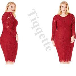 Goddiva Plus Size Lace Midi Dress