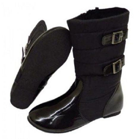 Girls Zip-Up School Flat Calf Quilted Fur-Lined Winter Boots