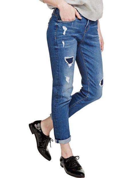 M&S Dark Indigo Washed Look Ripped Girlfriend Denim Jeans