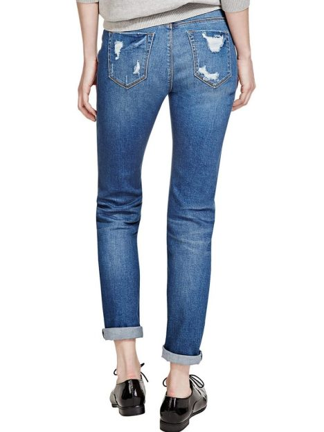 M&S Dark Indigo Washed Look Ripped Girlfriend Denim Jeans 2