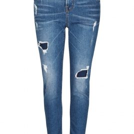 Dark Indigo Washed Look Ripped Girlfriend Denim Jeans