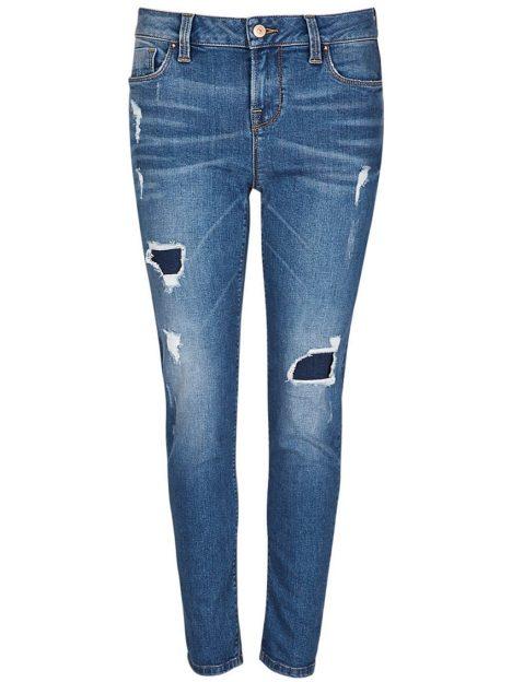 Dark Indigo Washed Look Ripped Girlfriend Denim Jeans