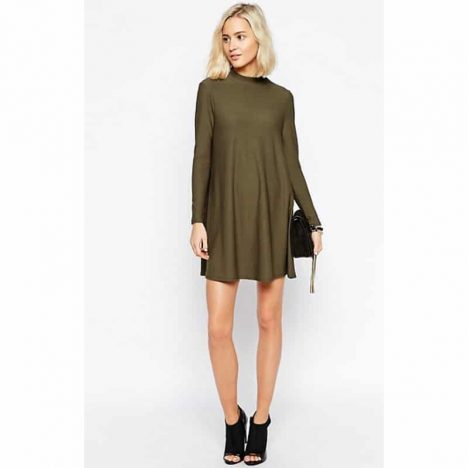 RIVER ISLAND Khaki Woven High Neck Long Sleeve Swing Tunic Dress