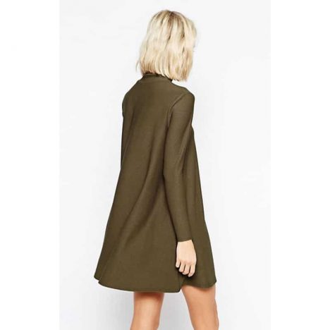 RIVER ISLAND Khaki Woven High Neck Long Sleeve Swing Tunic Dress 1
