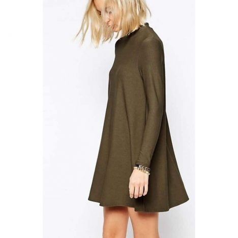 RIVER ISLAND Khaki Woven High Neck Long Sleeve Swing Tunic Dress 2