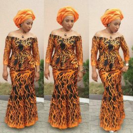 Tiqqette Flame Lace 2Piece Aso Ebi Dress