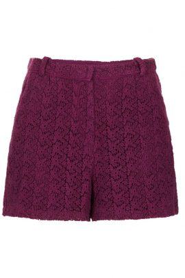 Topshop WINE Crochet Lace Shorts