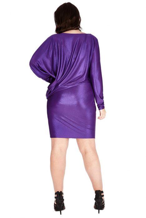 Goddiva Plus Size Metallic Mini Dress 1