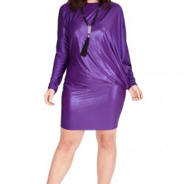 Goddiva Plus Size Metallic Mini Dress