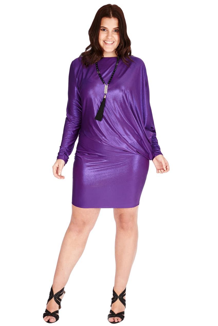 Goddiva Plus Size Metallic Mini Dress - Tiqqette Collection
