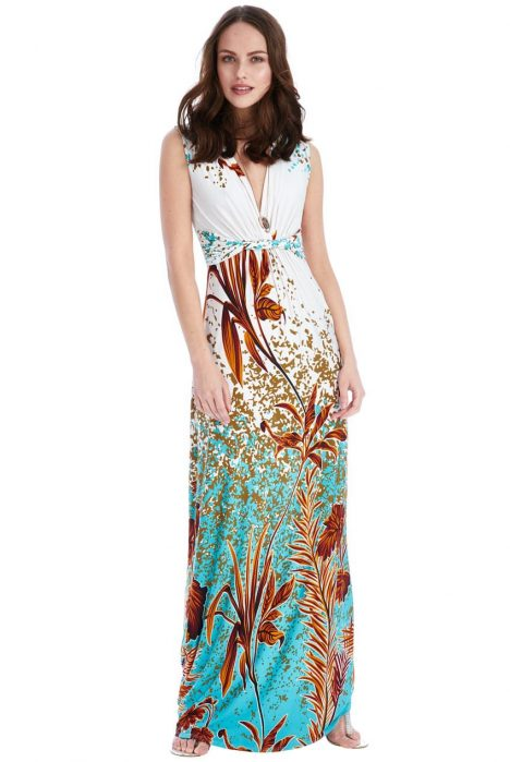 Goddiva Exotic Print Maxi Dress