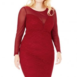 Goddiva Longsleeve Plus Size Lace Midi Dress