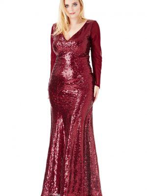 Goddiva PlusSize Longsleeve Sequin Maxi Dress