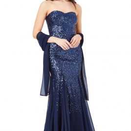 Goddiva Bandeau Sequin Chiffon Maxi Dress