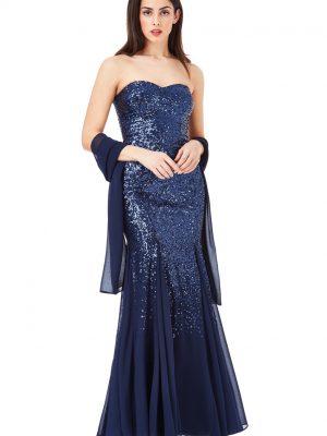 Goddiva Bandeau Sequin Chiffon Maxi Dress