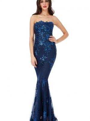 Goddiva Strapless Sequin Embroidered Maxi Dress
