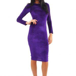 Lili London Embossed Velour Midi Dress