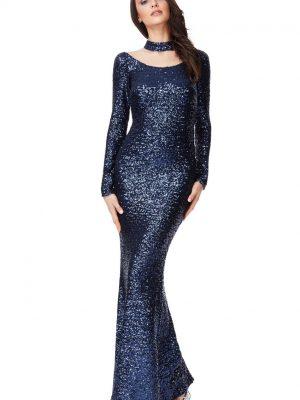 Goddiva High Neck Cutout Sequin Dress