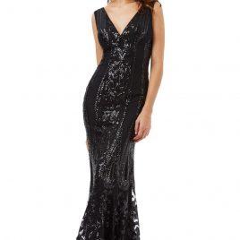 Goddiva V Neck Sequin Fishtail Maxi Dress